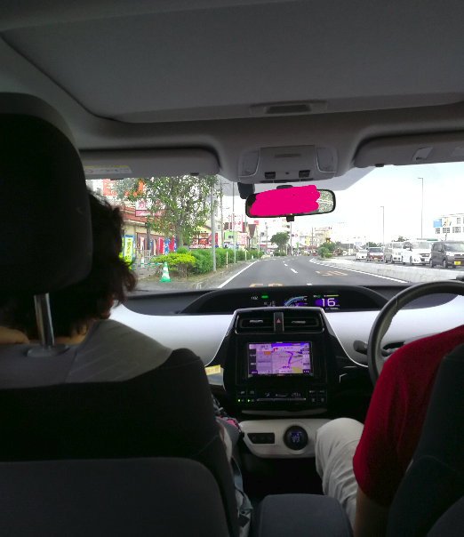 Inside the Okinawa rented car