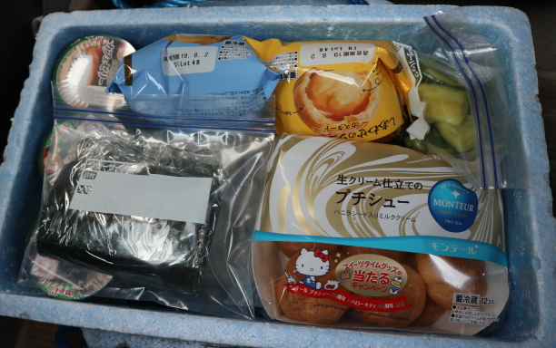 Foods we took for Sasagawa Nagare Beach, Japan.
