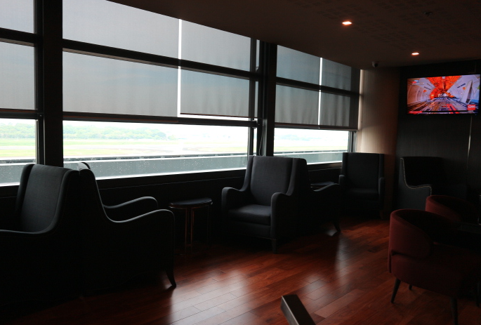 Television can be seen inside the ANA Lounge Manila International Airport.