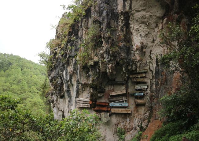 The hanging Coffins at Sagada.