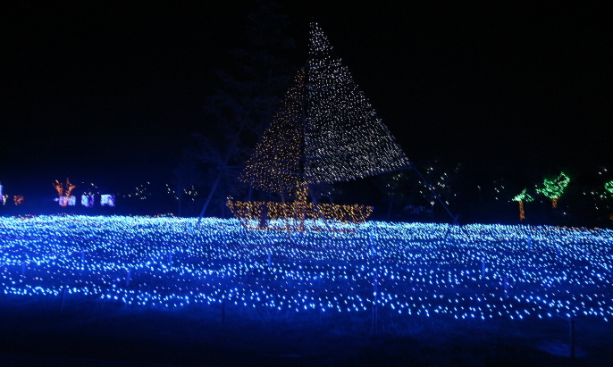 Illuminating boat shape at Kira-kira Garden, Japan.