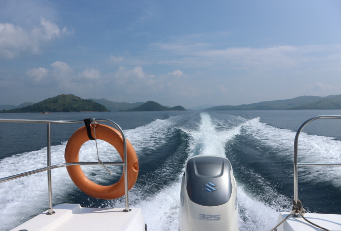 The view from our speedboat.