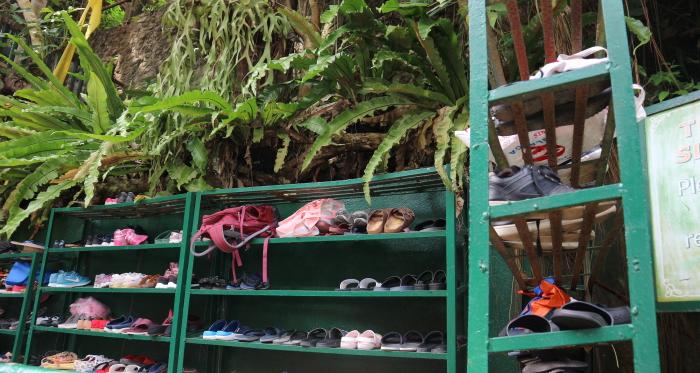 Bag and shoe rock at water falls villa escudero.
