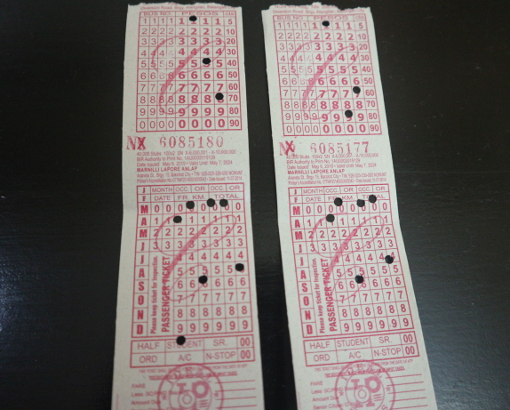 The bus ticket going to Buendia from Batangas Port.