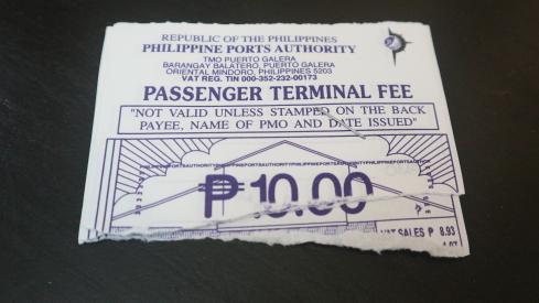 The terminal fee ticket at Puerto Galera.