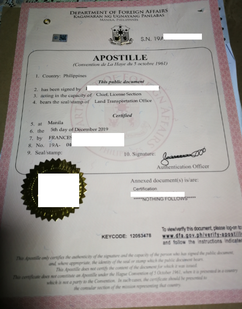My Apostille for Driving license Philippine.