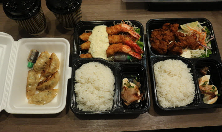 The food that we took out from Japanese restaurant just beside the clover hotel Myanmar.