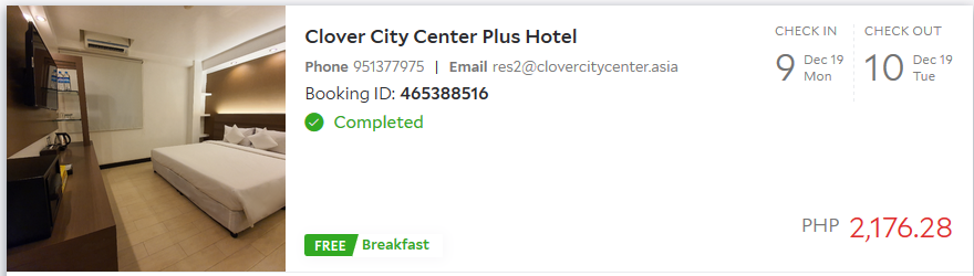 Clover CIty Center Plus hotel Myanmar from my Agoda personal account after we check out the hotel.