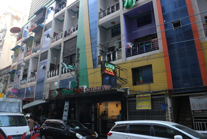 The view of Clover hotel Myanmar Heho, outside the street.