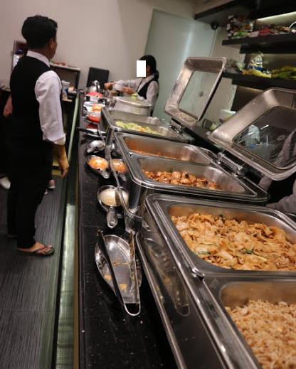 The Buffet foods of Clover hotel Myanmar.