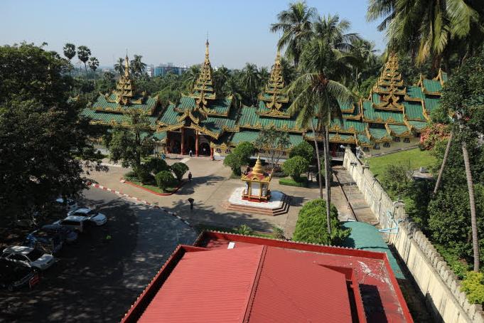 The second level of Schwedagon Pagoda.