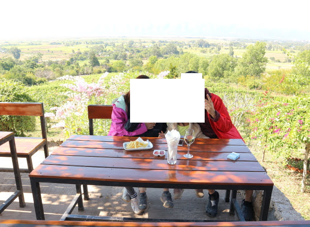 The tables with beautiful view at Winery Myanmar, Red Mountain.