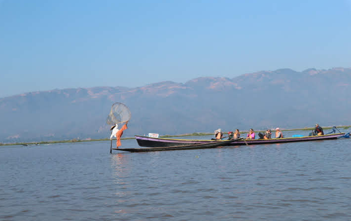 The famous Leg Rowing fisherman of Inle Lake Myanmar.