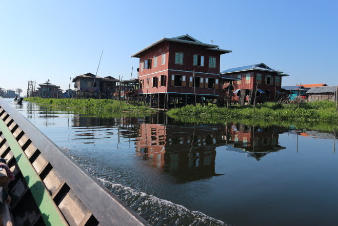 Floating houses of Inle Lake Myanmar.