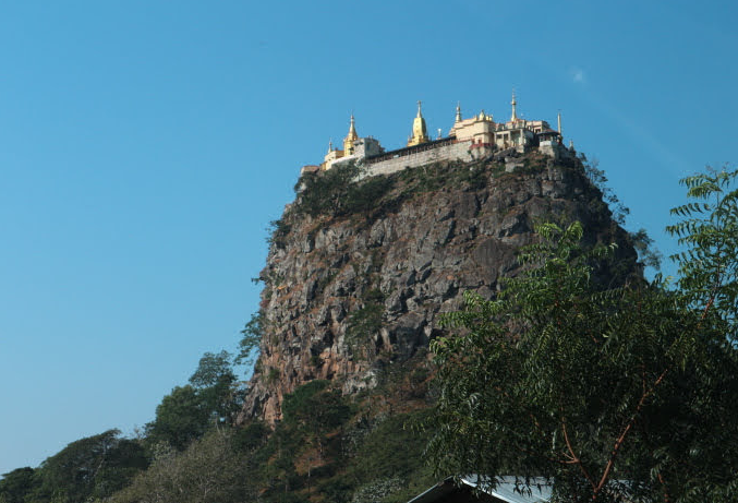 The Mount Popa at the to of the Mountaion, Mandalay Myanmar.