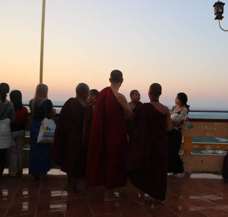 The monks at Mandalay hill.