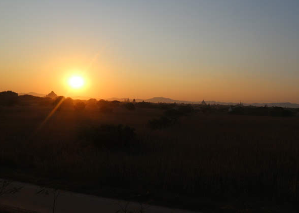 The Bagan, Myanmar Sunset overlooking the tip of the temples.