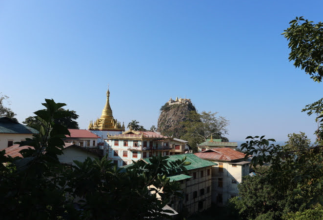 The view of Mount Popa from the road.