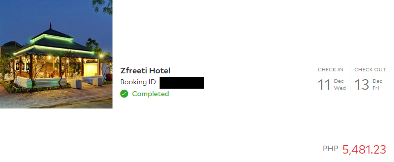 Our booking for our hotel at Bagan via agoda.