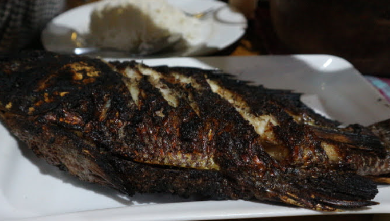 Grilled tilapia from local restaurant of Bagan Myanmar.