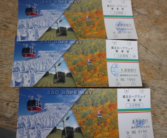 Zao Ropeway ticket.