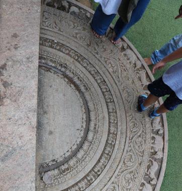 Moonstone flooring at Jaya Sri Maha Bodhi.