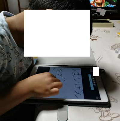 Our son using the Ipad.
