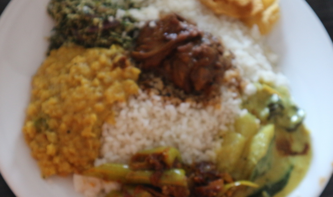 Rice with Indian curry at Sri Lanka.