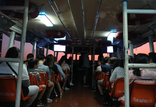 Inside the Free shuttle boat.