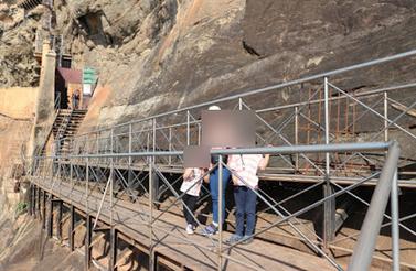 Renovating at Sigiriya rock fortress.