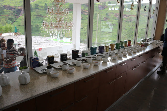 The different kinds of tea at Damro Tea factory.