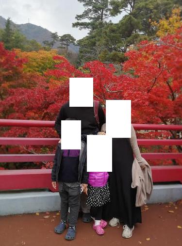 Photo with the momiji tree in Yahiko Park, Niigata Japan.