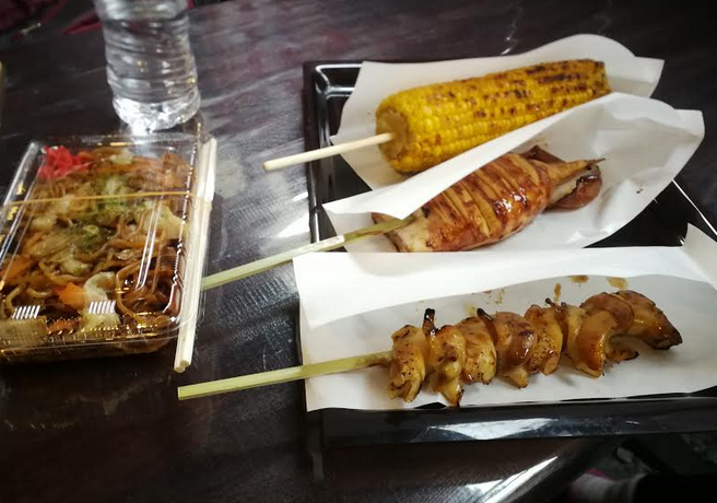 Foods we bought outside the Yahiko Park.