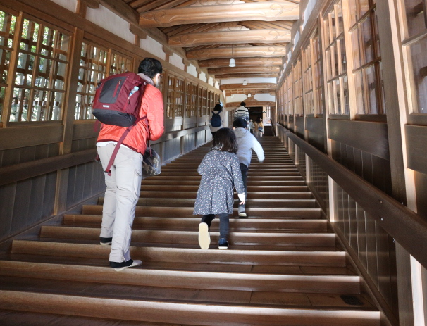 The stairs leading to one of the rooms of Eihei-Ji Temple.