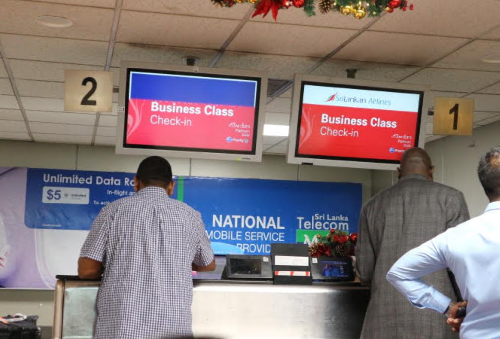 Checking in at Sri Lanka Airport.