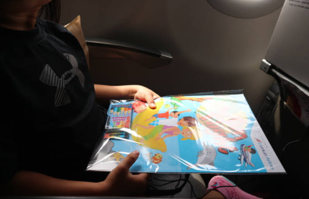Giveaways to the passengers of Sri Lankan Airlines.
