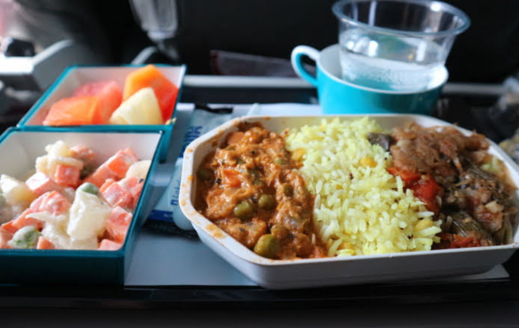 Flight meal has given at Sri Lankan Airlines.