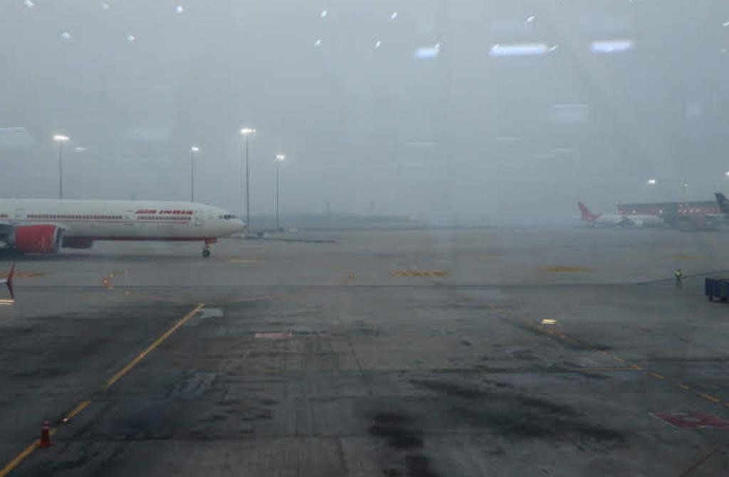 Airport arrival view full of haze at Delhi India.