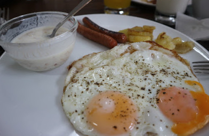 Sausage, yogurt, and eggs are included in our breakfast.